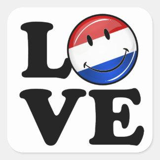 Kärlek från Nederländerna som ler flagga Fyrkantigt Klistermärke