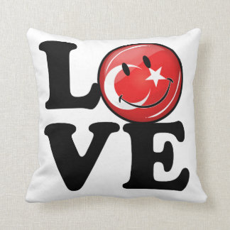 Kärlek från Turkiet som ler flagga Prydnadskudde