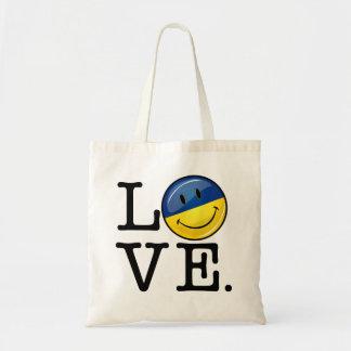 Kärlek från Ukraina som ler flagga Budget Tygkasse