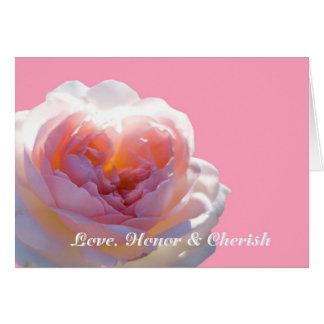 Kärlek heder & Cherish det nätt rosa roskortet Hälsningskort