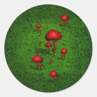 Kärlek (hjärta) plocka svamp på grön bakgrund runt klistermärke