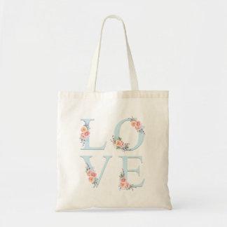 Kärlek i blom- alfabettypografi för blom tygkasse