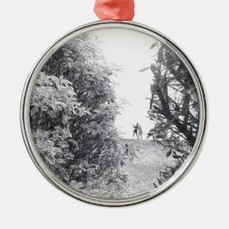 Kärlek i ett foto rund silverfärgad julgransprydnad