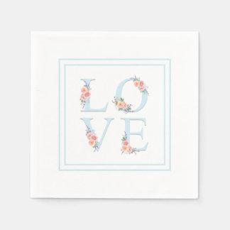 Kärlek i pastellfärgat blom- alfabet för blom pappersservett