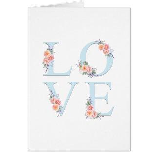Kärlek i romantisk blom- typografi för blom hälsningskort