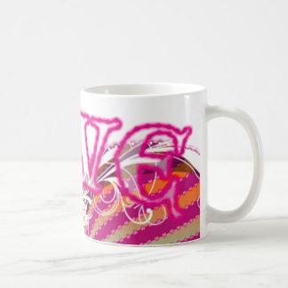 Kärlek - körsbärsröd rosa kaffemugg