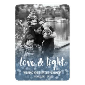 Kärlek & ljust Bokeh Hanukkah fotokort 12,7 X 17,8 Cm Inbjudningskort