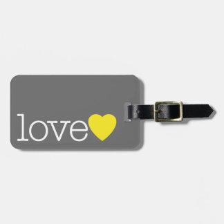 Kärlek med en ljus hjärta och adress/telefon bagagebricka