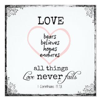 Kärlek misslyckas aldrig bibelVersebröllop Fyrkantigt 13,3 Cm Inbjudningskort