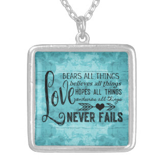 Kärlek misslyckas aldrig halsbandet (turkos) silverpläterat halsband