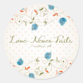 Kärlek misslyckas aldrig Scripture Runt Klistermärke