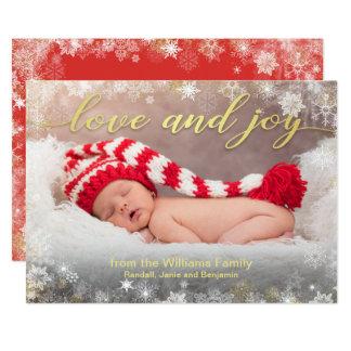 Kärlek- och glädjehelgdagfoto med Snowflakegränsen 12,7 X 17,8 Cm Inbjudningskort