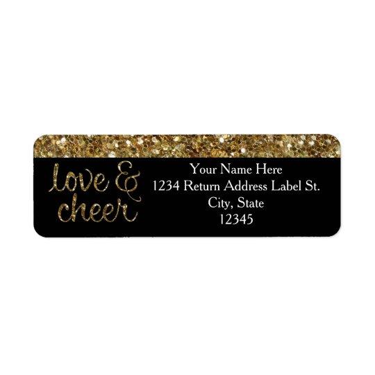 Kärlek och jubel blänker skina verkställer jul returadress etikett
