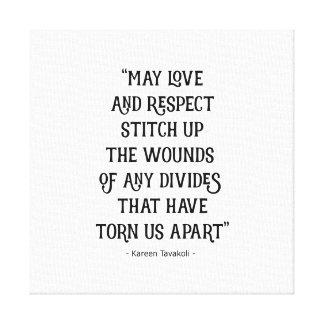 Kärlek- och respektkanfasaffisch canvastryck