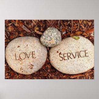 Kärlek och servar - andliga religiösa stenar poster