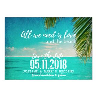 Kärlek och strandbröllop spara datum 12,7 x 17,8 cm inbjudningskort