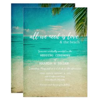 Kärlek och strandbröllopinbjudan 12,7 x 17,8 cm inbjudningskort