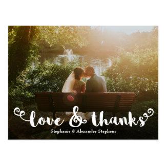 Kärlek och tack borstar kortet för bröllopfototack vykort