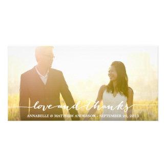 Kärlek och tack skrivar överdrar bröllop fotokort