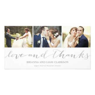 Kärlek och tacksilver skrivar | gifta sig tack fotokort