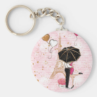 Kärlek/Paris/flickaktigt innegrej/Keychains Rund Nyckelring