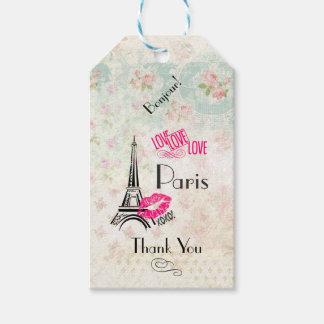 Kärlek Paris med Eiffel torntack Presentetikett