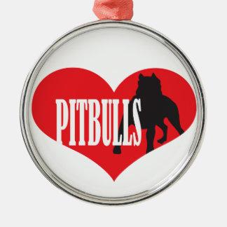 Kärlek Pitbulls Julgransprydnad Metall