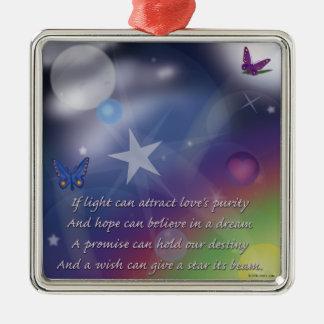 kärlek renhet silverfärgad fyrkantigt julgransprydnad