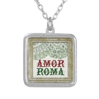 Kärlek Roma med grönt snöre Silverpläterat Halsband