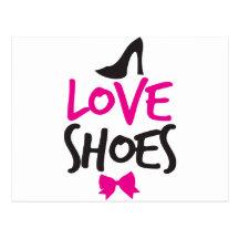 Kärlek skor med den gulliga lite pilbågen vykort