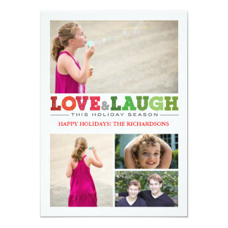Kärlek + Skratt x4 12,7 X 17,8 Cm Inbjudningskort