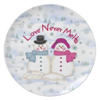 Kärlek smälter aldrig snögubben pläterar tallrik