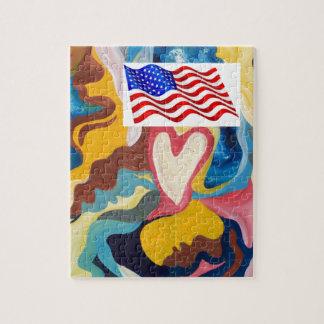 Kärlekamerikanska flaggan pussel