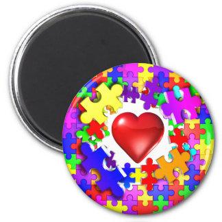 Kärlekavbrott till och med Autism Magnet Rund 5.7 Cm