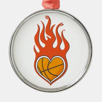 KärlekBasketbal prydnad Rund Silverfärgad Julgransprydnad