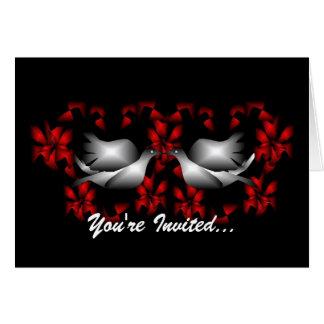 Kärlekduvor förbigår inbjudan hälsningskort