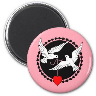 Kärlekduvor Magnet Rund 5.7 Cm