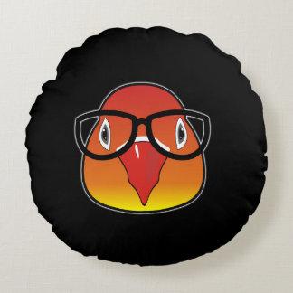 Kärlekfågel med exponeringsglas rund kudde