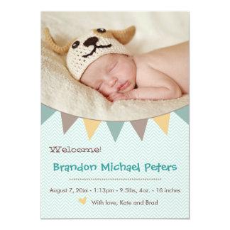Kärlekhjärta & baner - nyfödd 12,7 x 17,8 cm inbjudningskort