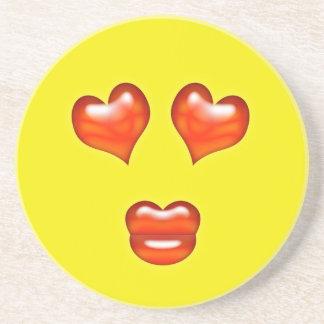 Kärlekhjärtor Emoji Glasunderlägg I Sandsten