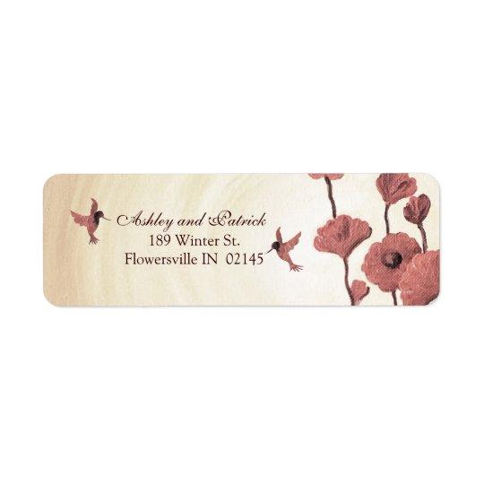 KärlekHummingbirds och målade röda blommor Returadress Etikett