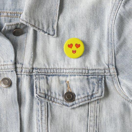 Kärlekkysshjärta synar Emoji Mini Knapp Rund 3.2 Cm