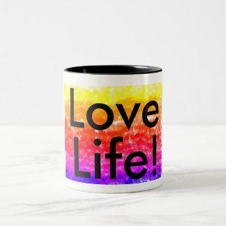 Kärlekliv! muilt-färgad och svart textmugg Två-Tonad mugg