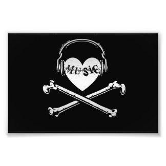 Kärlekmusikhörlurar skalle och Crossbones Fototryck
