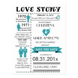 Kärlekshistoriaspara dateravykortet (Robinsägget) Vykort