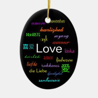 Kärlekvärld runt i svart mig julgranskulor