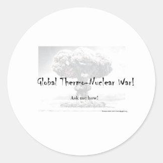 Kärn- krigdebattprodukter runt klistermärke