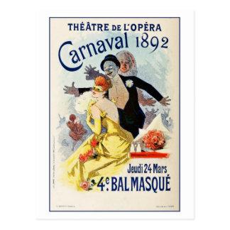 Karneval 1892 för Theatre för vintageParis opera Vykort
