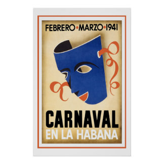 Karneval i den Havana vintage resor Poster