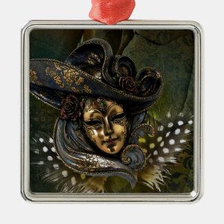 KarnevalMaskera-Grönt damastast prydnad Julgransprydnad Metall
